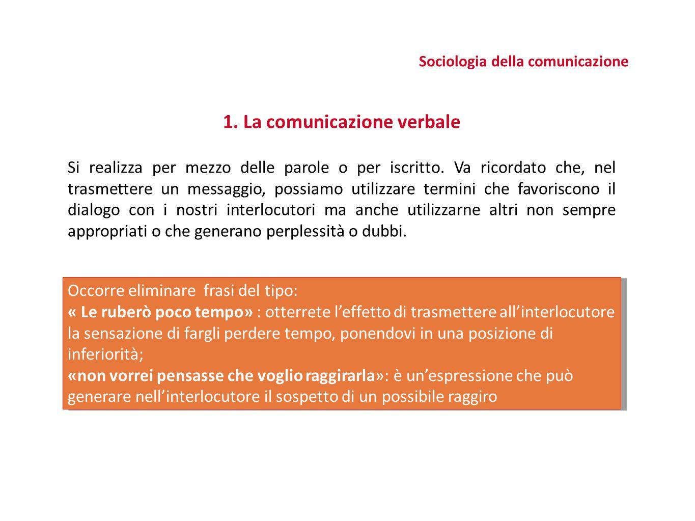 Sociologia della comunicazione 1. La comunicazione verbale