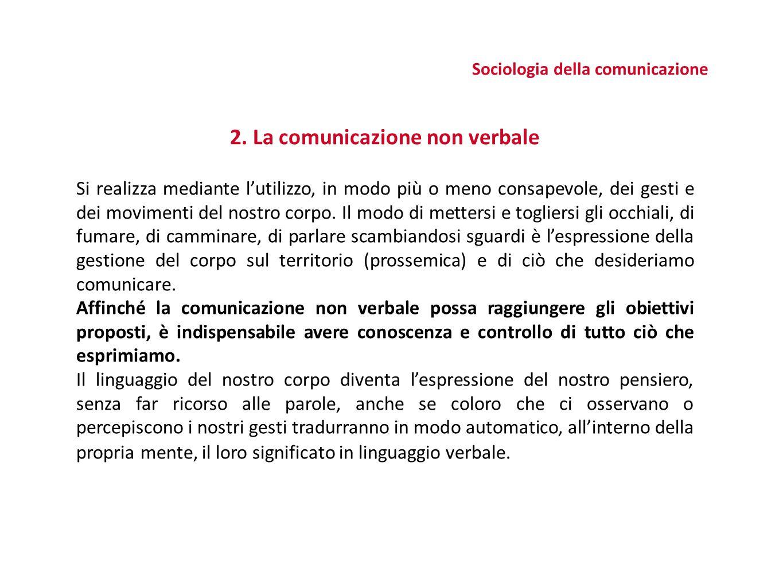 Sociologia della comunicazione 2. La comunicazione non verbale