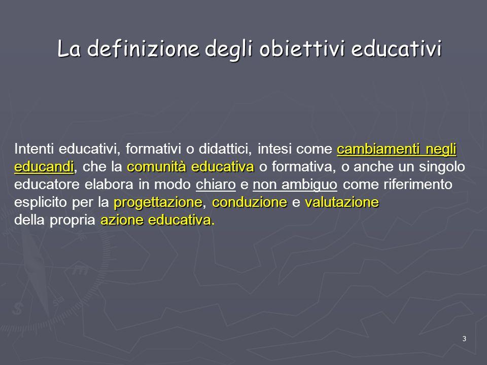 La definizione degli obiettivi educativi