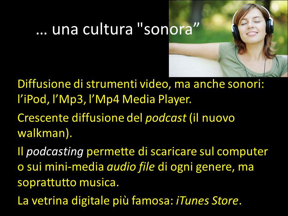 … una cultura sonora Diffusione di strumenti video, ma anche sonori: l'iPod, l'Mp3, l'Mp4 Media Player.