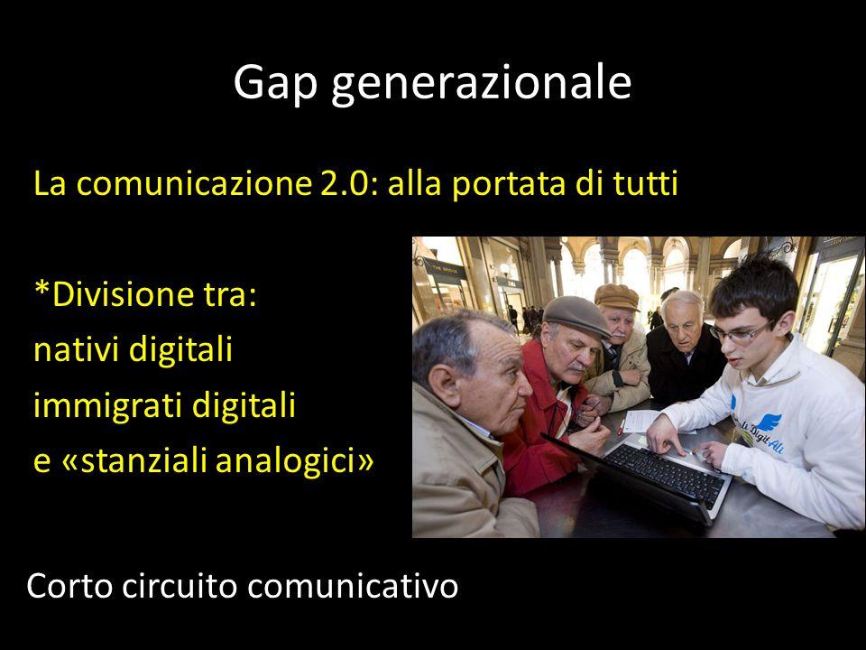 Gap generazionale La comunicazione 2.0: alla portata di tutti *Divisione tra: nativi digitali immigrati digitali e «stanziali analogici»