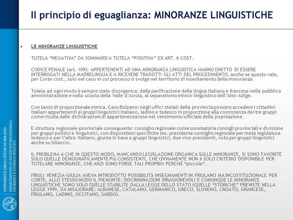 Il principio di eguaglianza: MINORANZE LINGUISTICHE