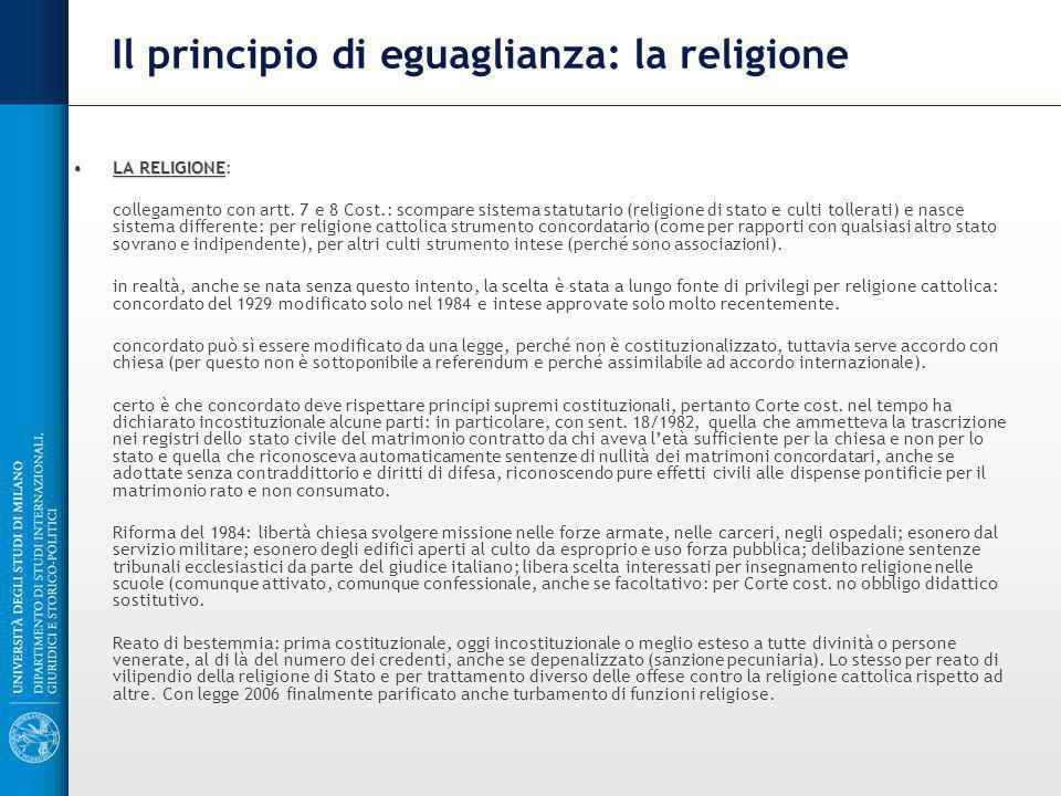 Il principio di eguaglianza: la religione