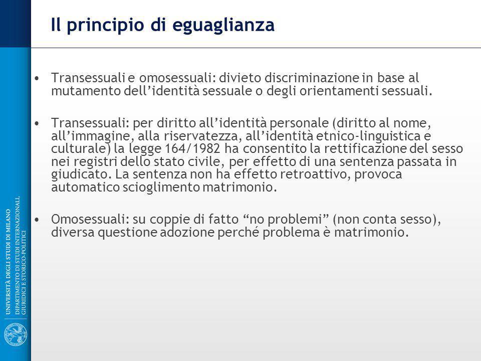 Il principio di eguaglianza