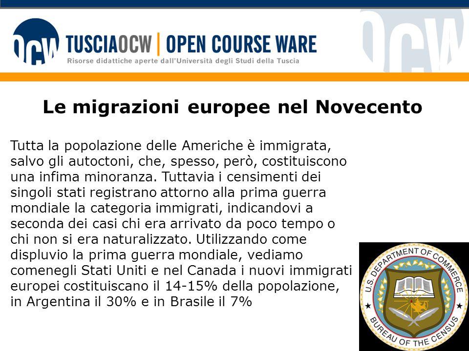 Le migrazioni europee nel Novecento