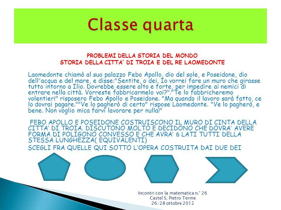Classe quarta PROBLEMI DELLA STORIA DEL MONDO. STORIA DELLA CITTA' DI TROIA E DEL RE LAOMEDONTE.