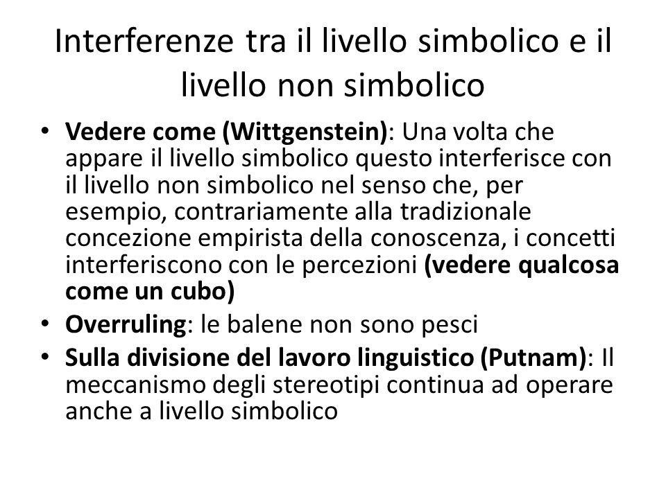 Interferenze tra il livello simbolico e il livello non simbolico