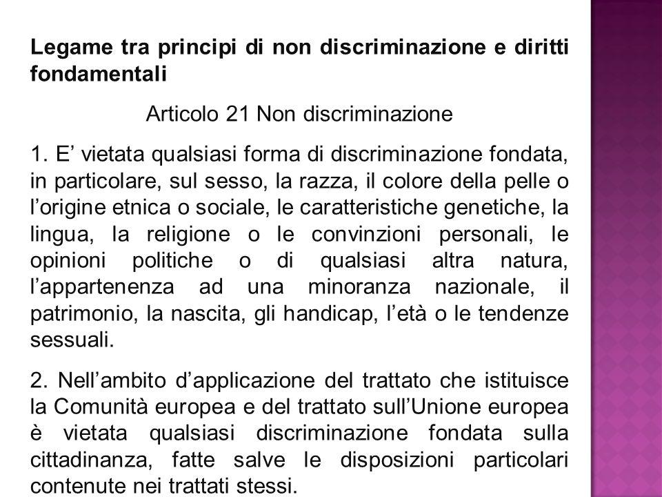 Articolo 21 Non discriminazione
