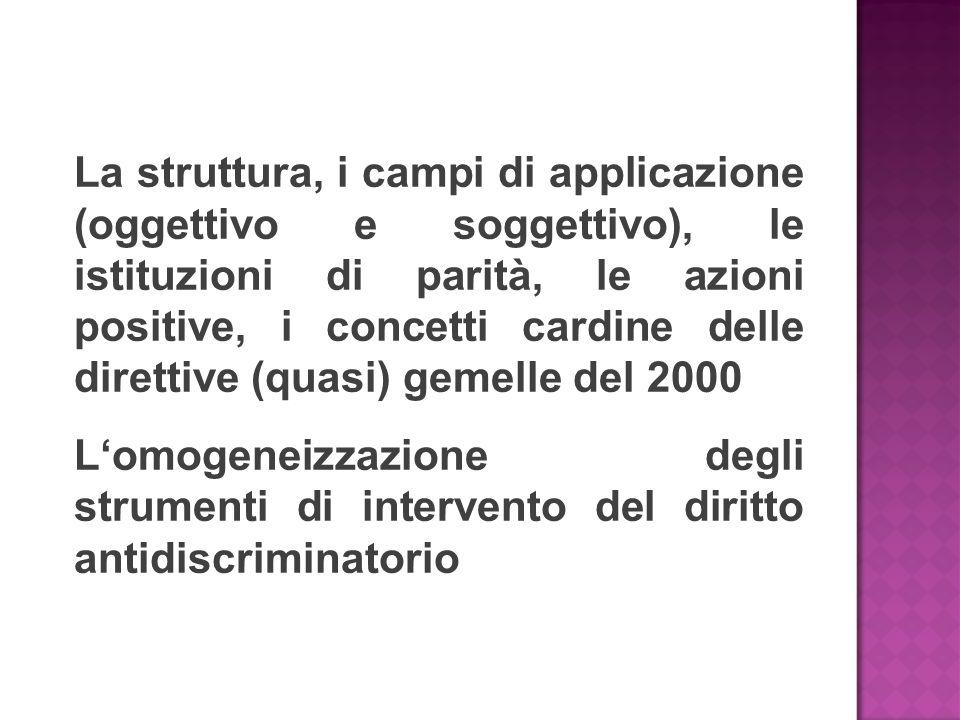 La struttura, i campi di applicazione (oggettivo e soggettivo), le istituzioni di parità, le azioni positive, i concetti cardine delle direttive (quasi) gemelle del 2000