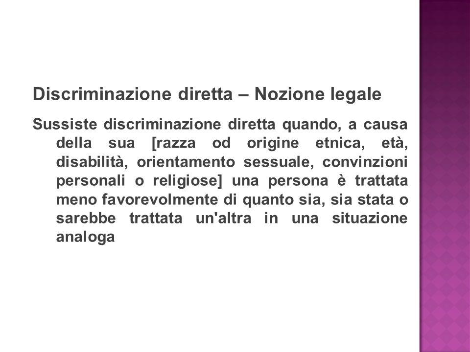 Discriminazione diretta – Nozione legale