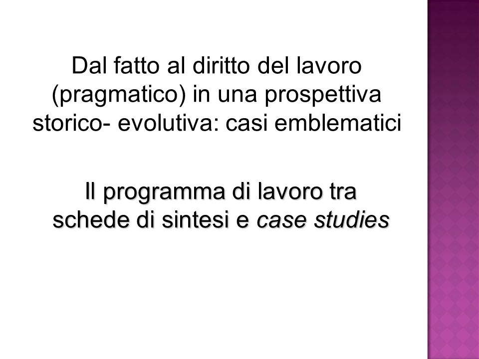 Il programma di lavoro tra schede di sintesi e case studies