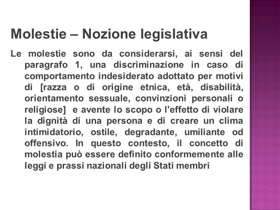 Molestie – Nozione legislativa