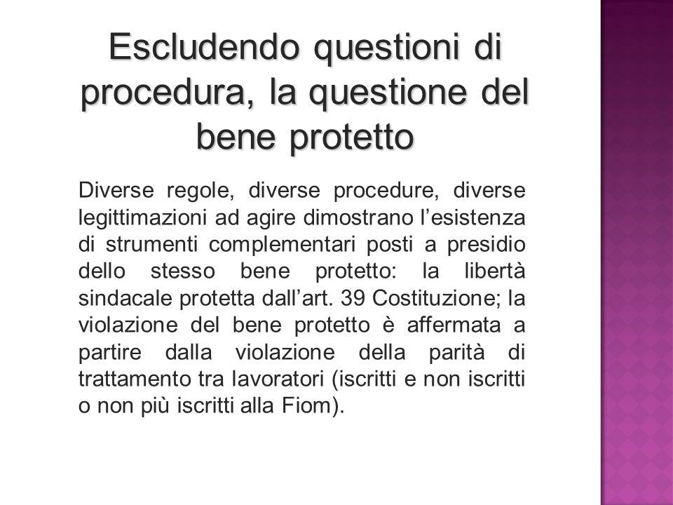 Escludendo questioni di procedura, la questione del bene protetto