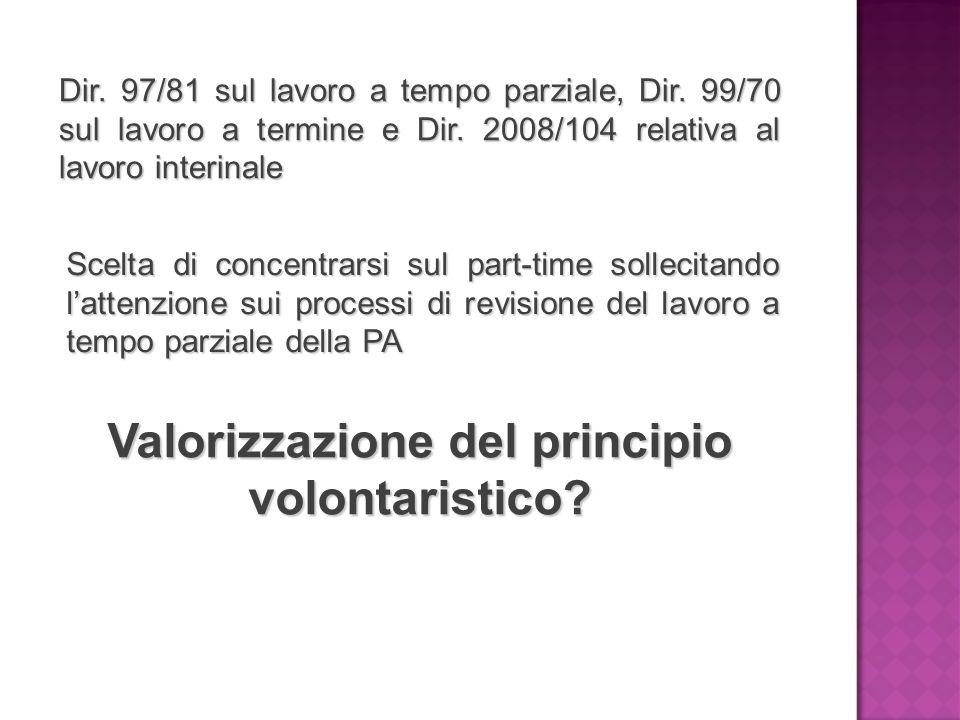Valorizzazione del principio volontaristico