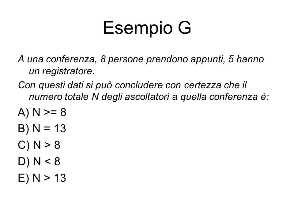 Esempio G A) N >= 8 B) N = 13 C) N > 8 D) N < 8 E) N > 13