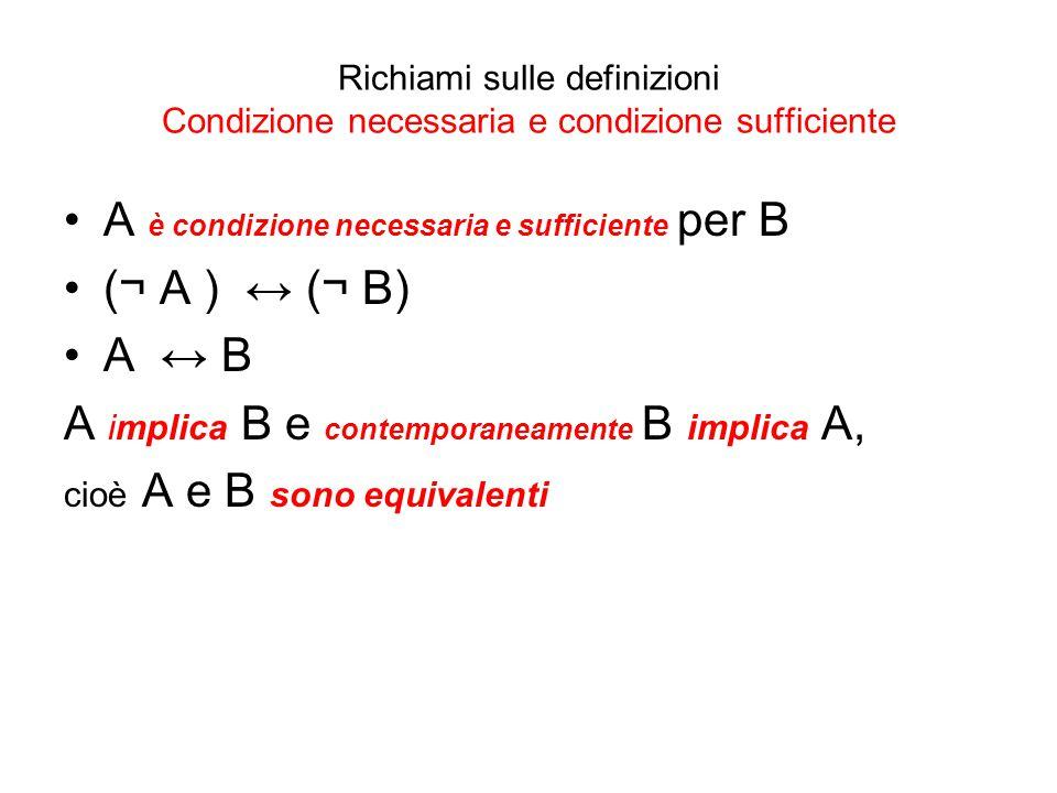 A è condizione necessaria e sufficiente per B (¬ A ) ↔ (¬ B) A ↔ B