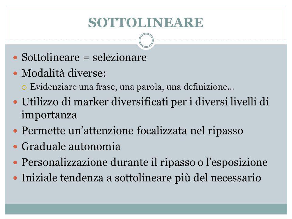 SOTTOLINEARE Sottolineare = selezionare Modalità diverse: