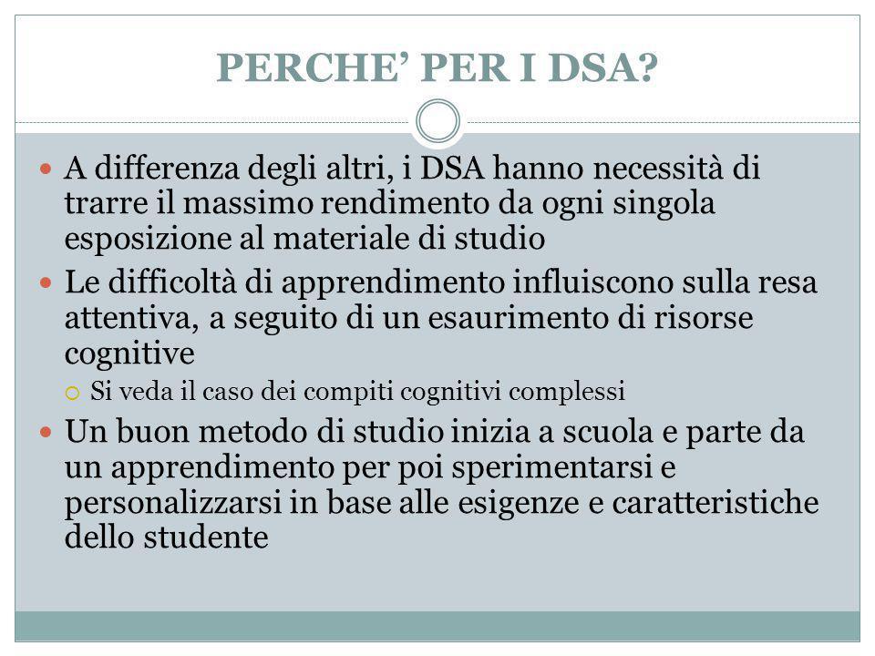 PERCHE' PER I DSA A differenza degli altri, i DSA hanno necessità di trarre il massimo rendimento da ogni singola esposizione al materiale di studio.
