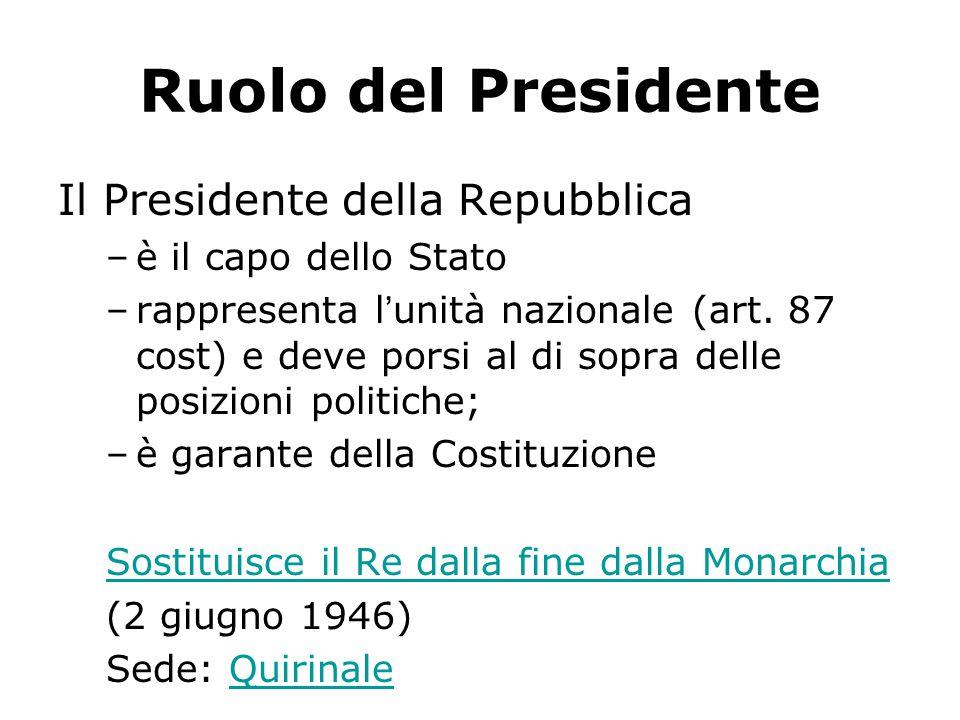 Ruolo del Presidente Il Presidente della Repubblica