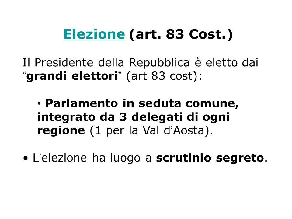 Elezione (art. 83 Cost.) Il Presidente della Repubblica è eletto dai grandi elettori (art 83 cost):