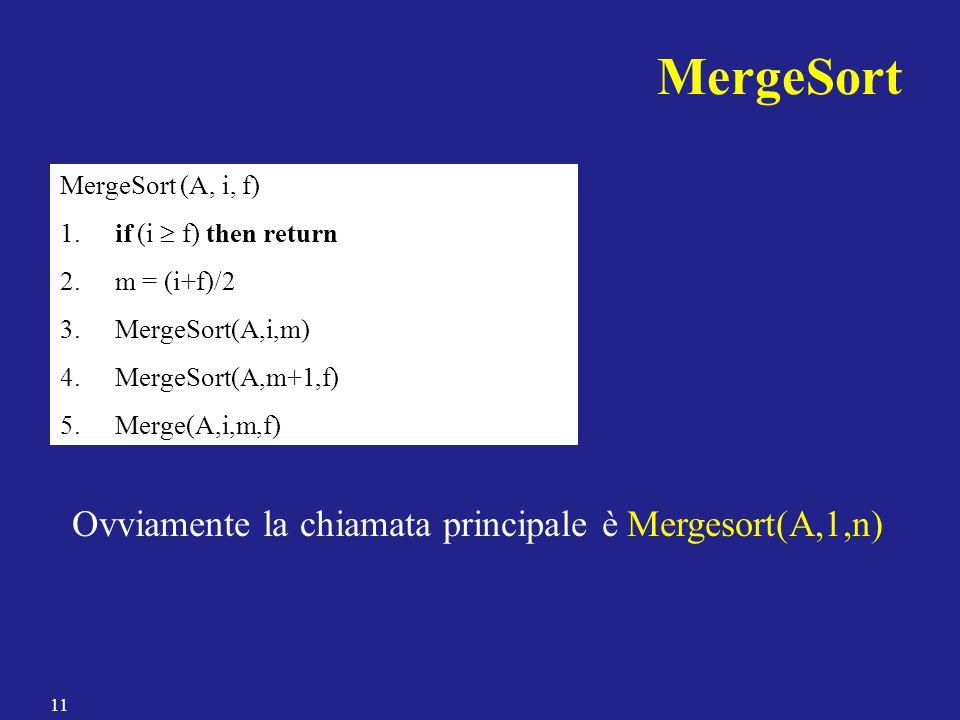 MergeSort Ovviamente la chiamata principale è Mergesort(A,1,n)