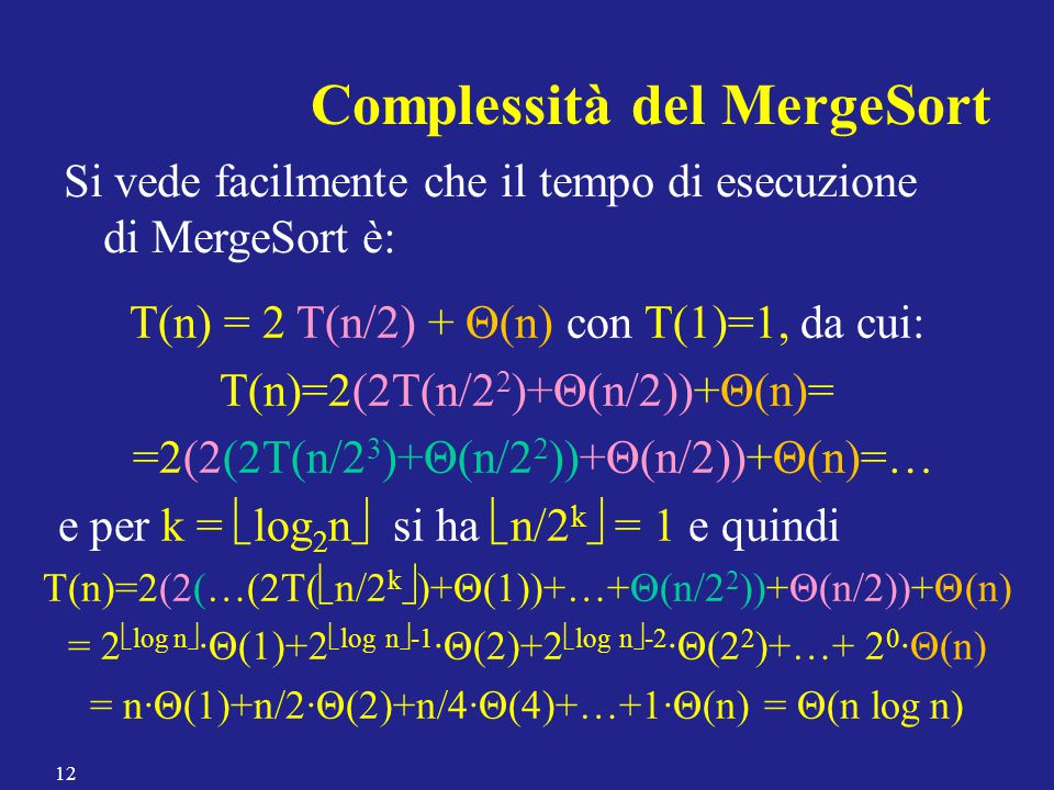 Complessità del MergeSort