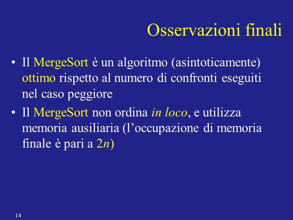 Osservazioni finali Il MergeSort è un algoritmo (asintoticamente) ottimo rispetto al numero di confronti eseguiti nel caso peggiore.