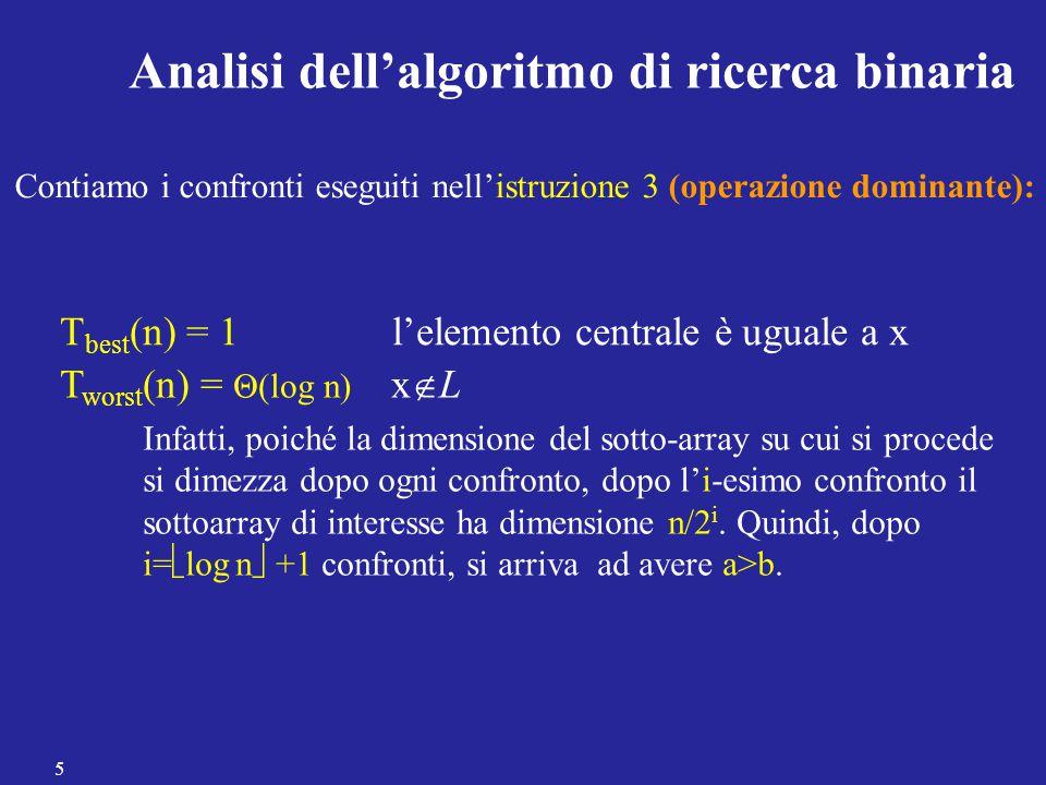 Analisi dell'algoritmo di ricerca binaria