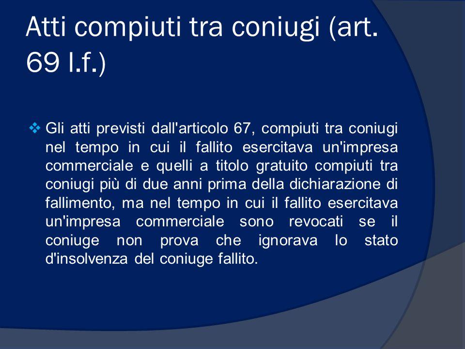 Atti compiuti tra coniugi (art. 69 l.f.)