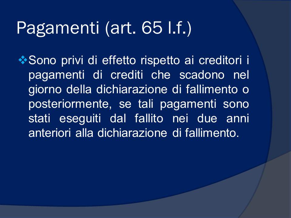 Pagamenti (art. 65 l.f.)