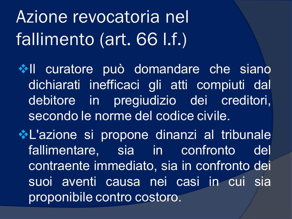 Azione revocatoria nel fallimento (art. 66 l.f.)