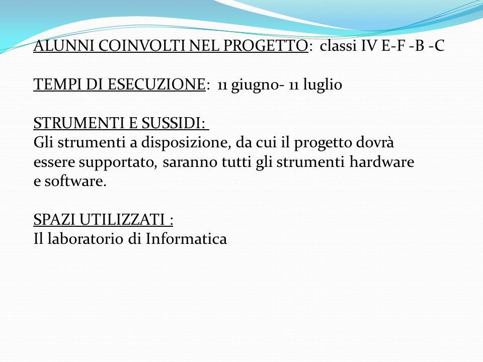 ALUNNI COINVOLTI NEL PROGETTO: classi IV E-F -B -C