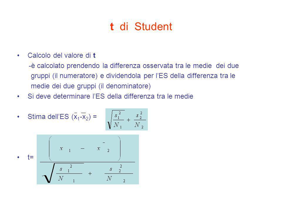 t di Student Calcolo del valore di t