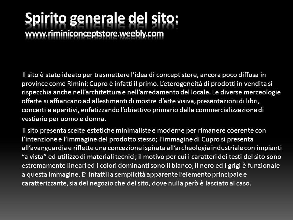 Spirito generale del sito: www.riminiconceptstore.weebly.com