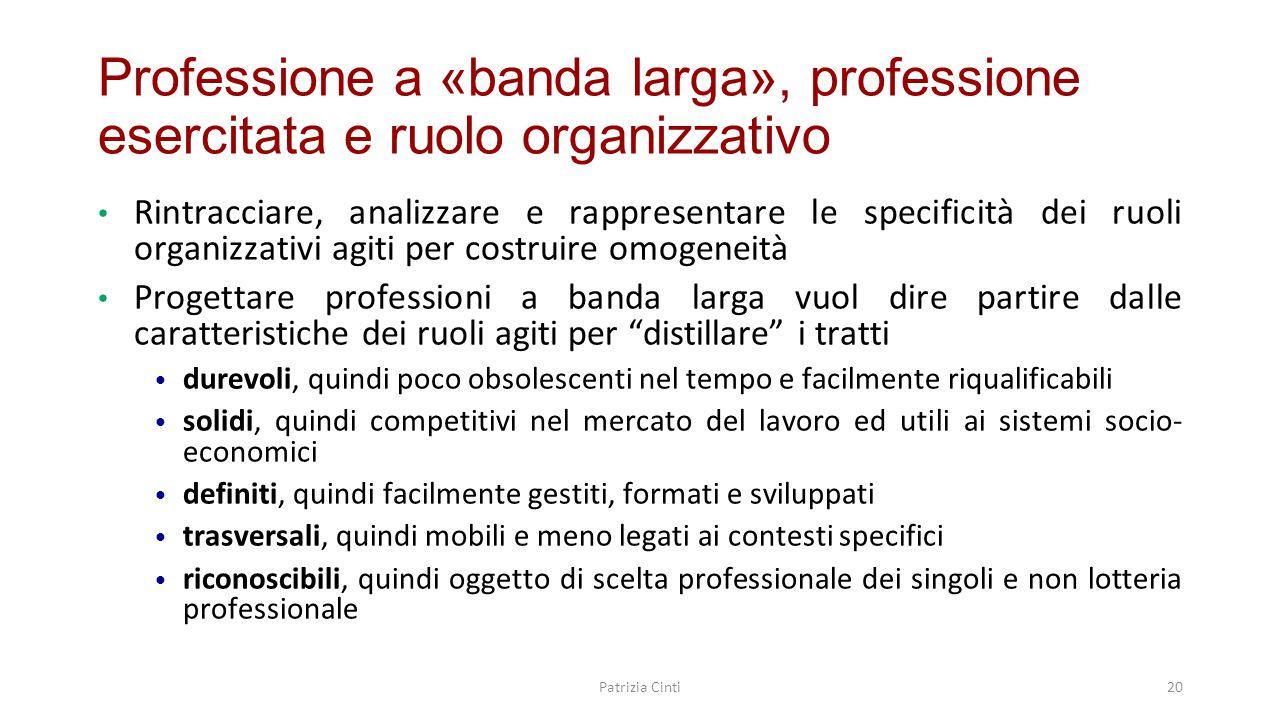 Professione a «banda larga», professione esercitata e ruolo organizzativo