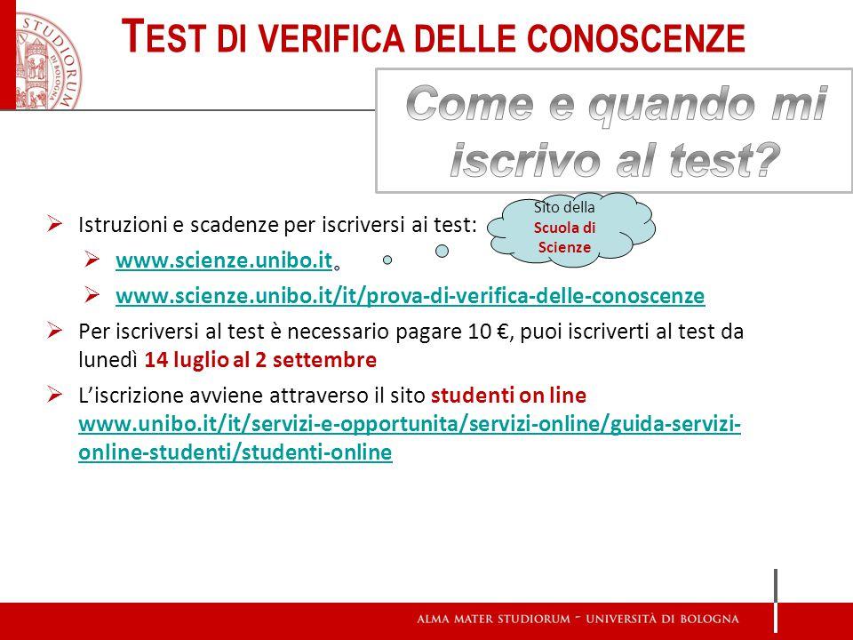 Test di verifica delle conoscenze Come e quando mi iscrivo al test