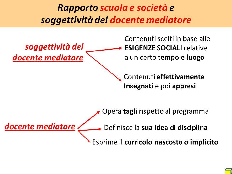Rapporto scuola e società e soggettività del docente mediatore