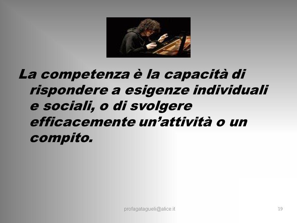 La competenza è la capacità di rispondere a esigenze individuali e sociali, o di svolgere efficacemente un'attività o un compito.