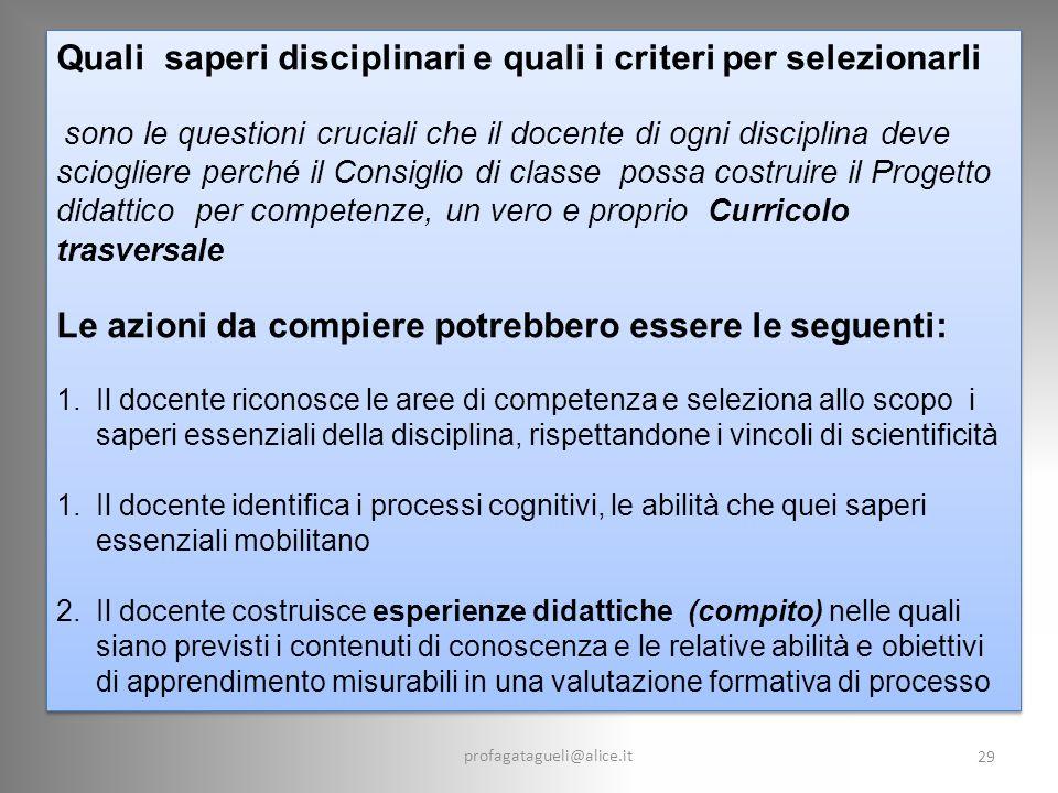 Quali saperi disciplinari e quali i criteri per selezionarli