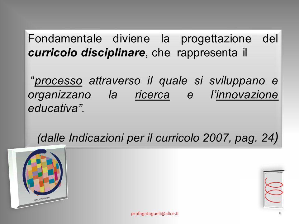 (dalle Indicazioni per il curricolo 2007, pag. 24)