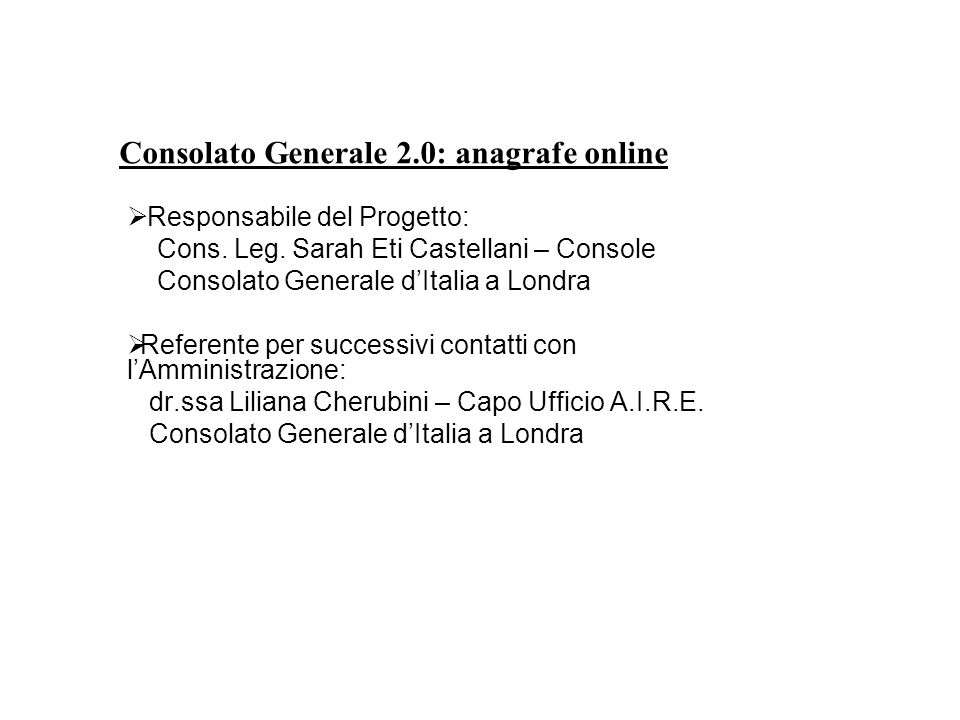 Consolato Generale 2.0: anagrafe online