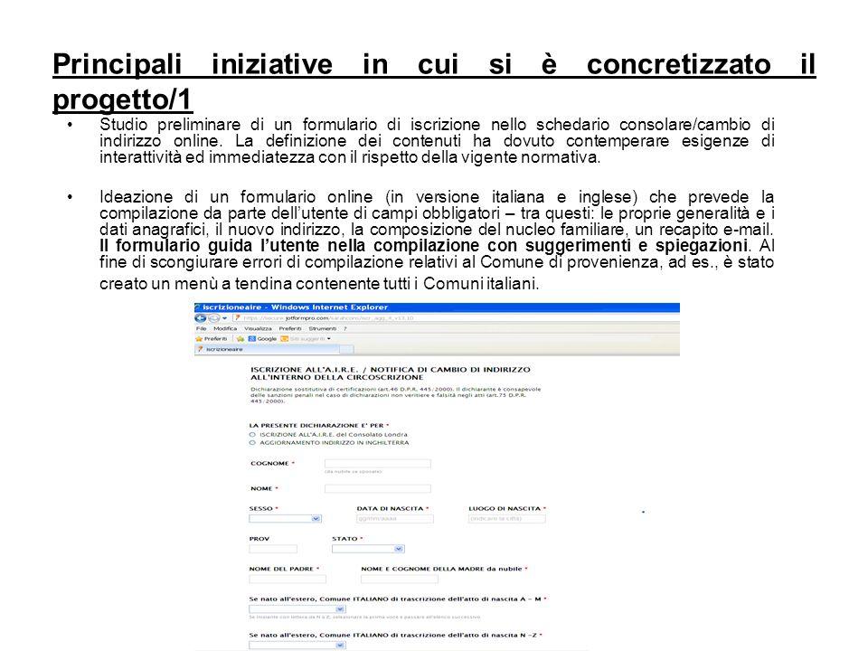 Principali iniziative in cui si è concretizzato il progetto/1