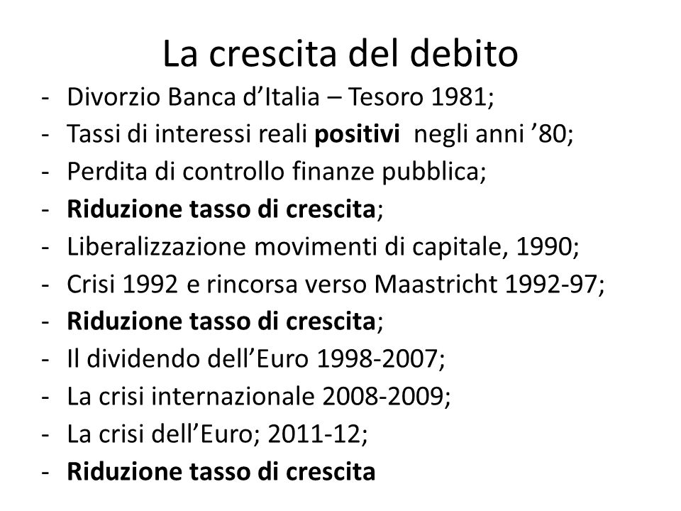 La crescita del debito Divorzio Banca d'Italia – Tesoro 1981;
