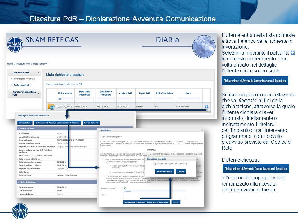 Discatura PdR – Dichiarazione Avvenuta Comunicazione