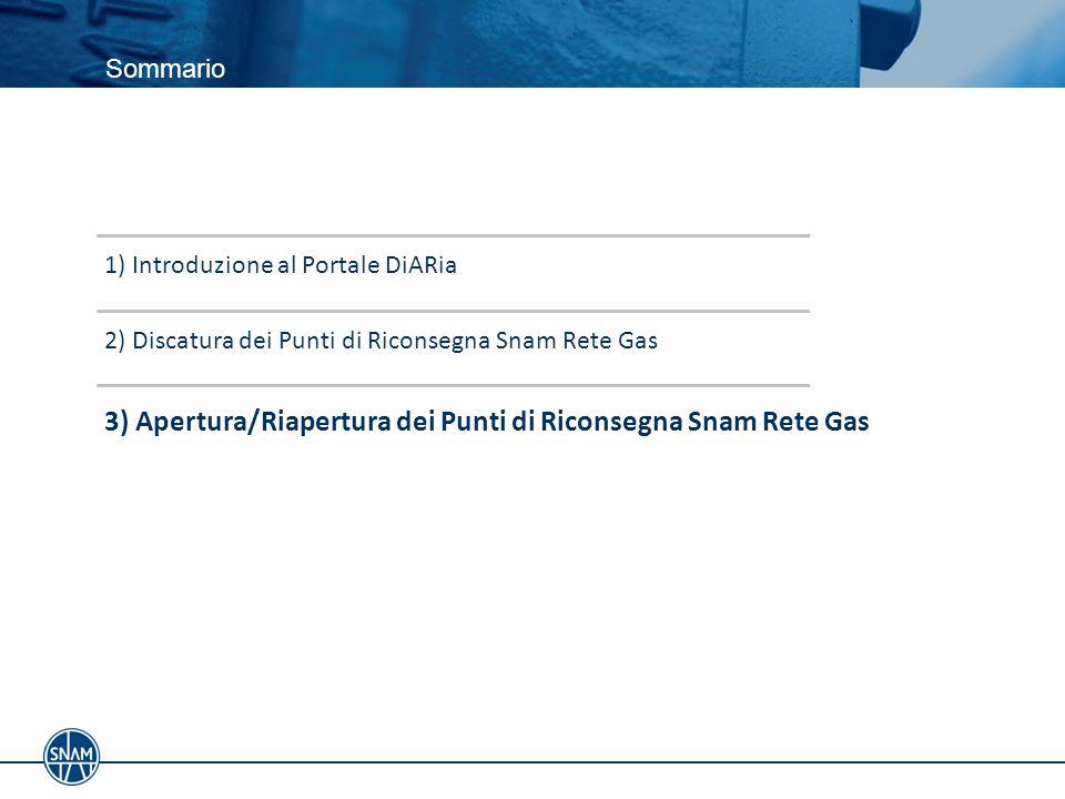 3) Apertura/Riapertura dei Punti di Riconsegna Snam Rete Gas