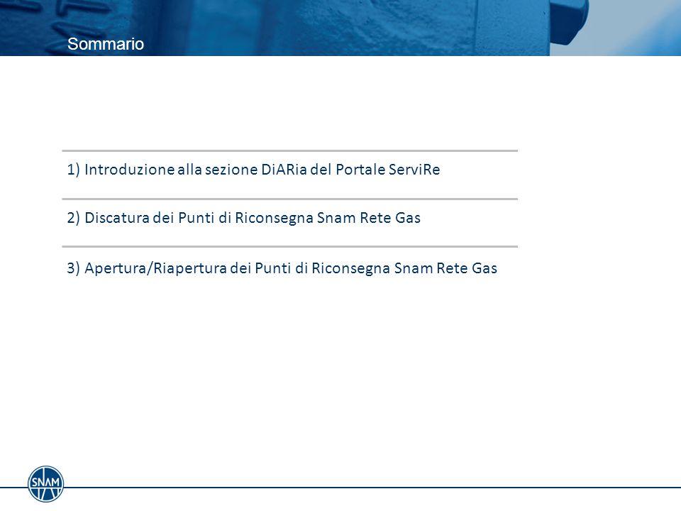 Sommario 1) Introduzione alla sezione DiARia del Portale ServiRe. 2) Discatura dei Punti di Riconsegna Snam Rete Gas.