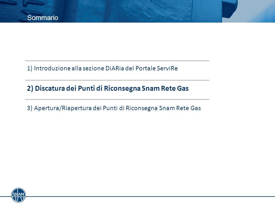 2) Discatura dei Punti di Riconsegna Snam Rete Gas