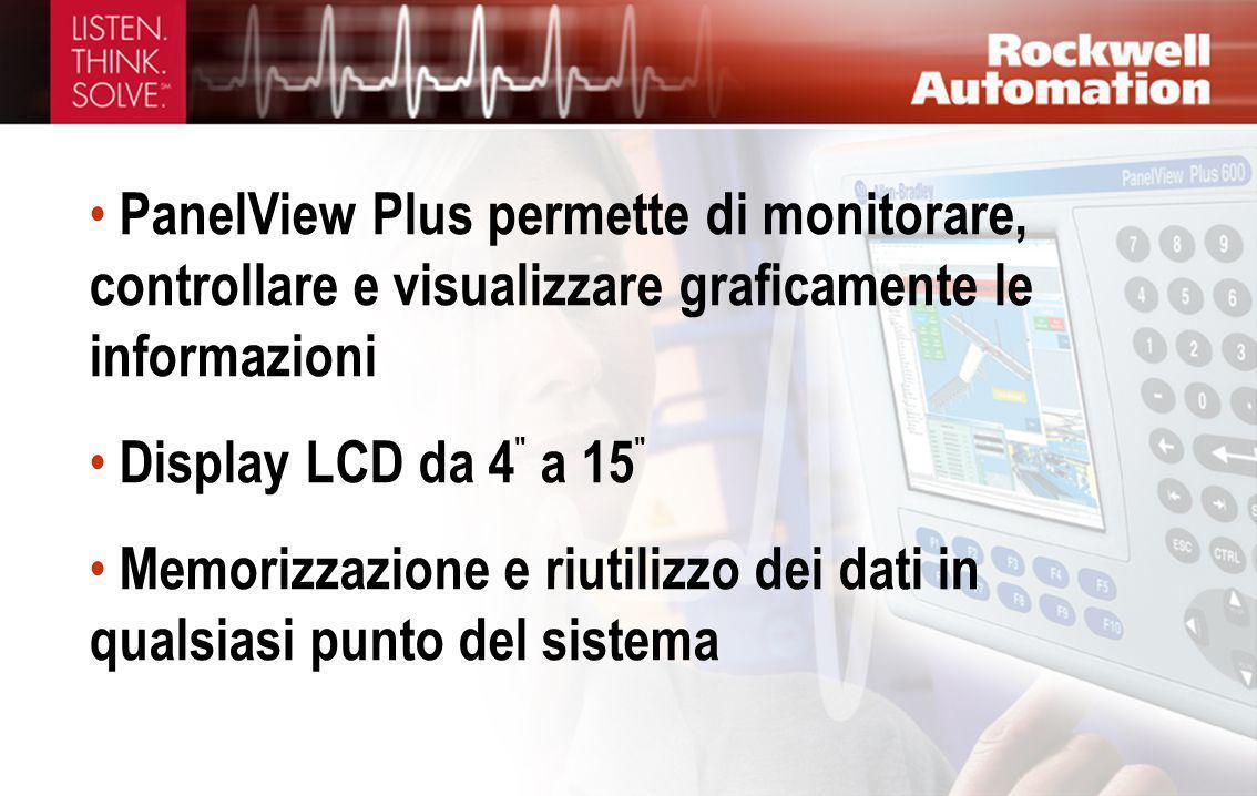 PanelView Plus permette di monitorare, controllare e visualizzare graficamente le informazioni
