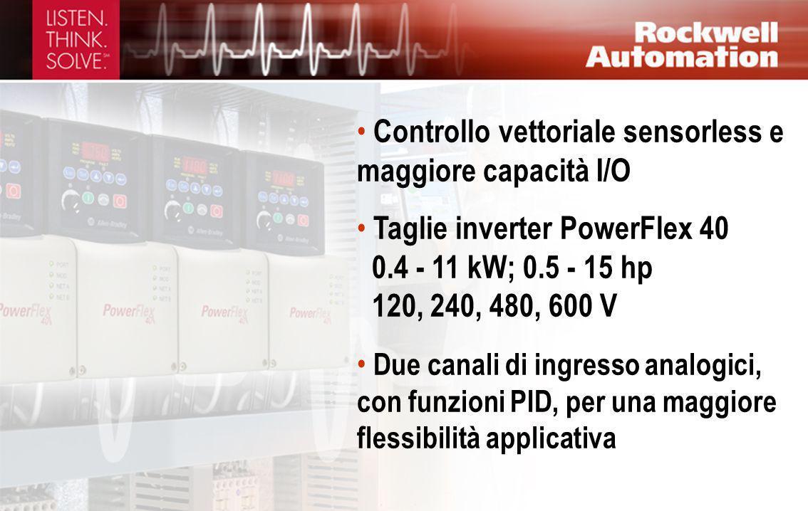 Controllo vettoriale sensorless e maggiore capacità I/O