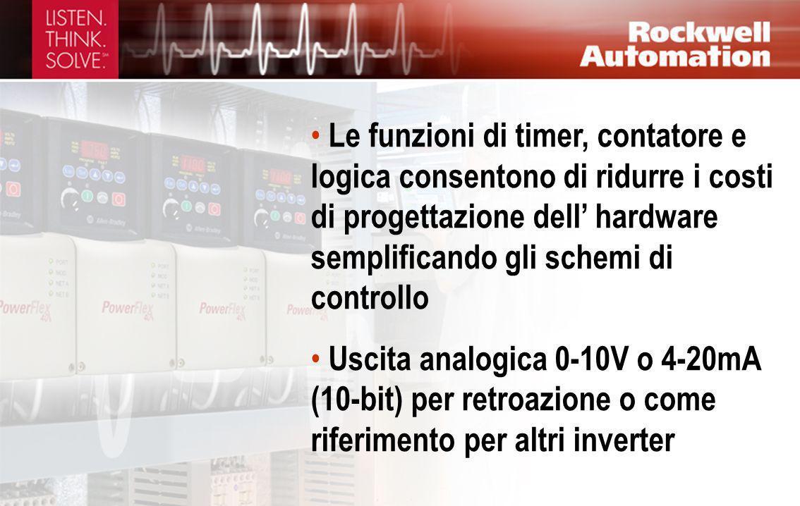 Le funzioni di timer, contatore e logica consentono di ridurre i costi di progettazione dell' hardware semplificando gli schemi di controllo